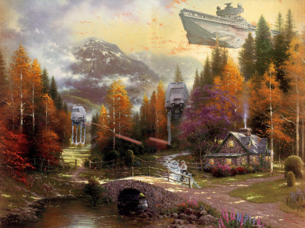 Thomas kincade and star wars equals magic for Oil paintings for the home