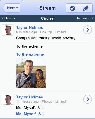 iPhone Google+ Interface